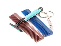 Razor, scissors and combs Stock Photo