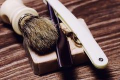 Razor sharp soap brush retro Stock Images