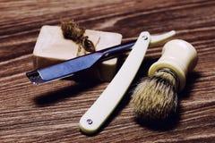 Razor sharp soap brush retro Royalty Free Stock Images
