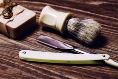 Razor sharp soap brush retro Stock Photography