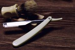 Razor sharp soap brush retro Stock Photo