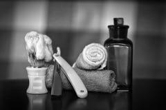 Razor shaving accessories razor. Razor shaving accessories black and white color monochrome stock photography