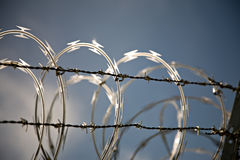 Razor wire. Outside a U.S. Military building, Shallow depth of field Stock Photos