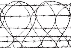Razor Wire. Razor and barbed wire on white background Stock Photos