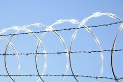 Razor Wire 4. Razor wire on chain link security fence Royalty Free Stock Photos