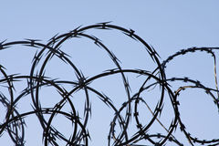 Razor wire against a blue sky. Razor wire against a light blue sky stock photos