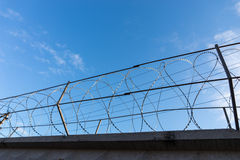 Razor Wire Along Top of Security Fence Stock Images