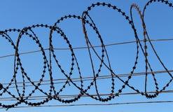 Razor wire. Barbed wire fence with razor wire Royalty Free Stock Photos