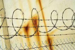 Razor wire fence. Image of razor wire and barbed wire fence stock images