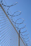 Razor wire fence. Chain link fence with barbed wire Stock Photography
