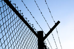 Razor wire fence. A razor wire covered fence Stock Image