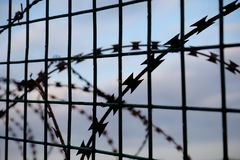 Razor wire fence. On the edge of an army firing range Royalty Free Stock Photo