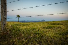 Razor wire of fence on terrain land stock photo
