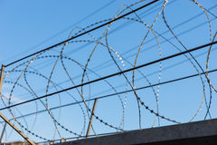 Razor Wire in front of Blue Sky Royalty Free Stock Photography