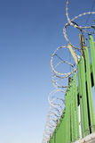 Razor wire on green fence Stock Photography