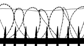 Razor wire on metal fence. Silhouette Stock Photo