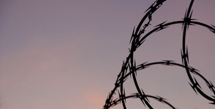 Razor wire and Purple Sky Royalty Free Stock Photo