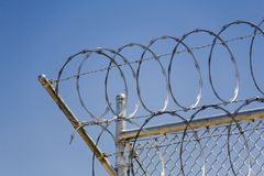 Razor Wire Security Fence_01. Detail shot of razor wire security fence in eastern Nevada Stock Photo