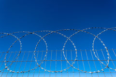 Razor Wire Steel Fence. Close photo image of the detail and the installation of the razor wire in circles across the horizontal picture frame against a clear Royalty Free Stock Images
