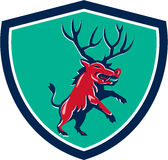 Razorback Antlers Prancing Crest Retro Royalty Free Stock Photo