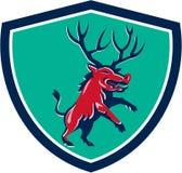 Razorback Antlers Prancing Crest Retro Royalty Free Stock Photo