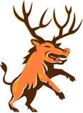 Razorback Antlers Prancing Retro Royalty Free Stock Photography