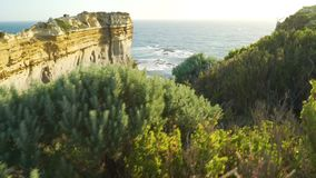 Razorback lookout at sunset in The twelve apostles in Australia, dolly and pan move stock footage