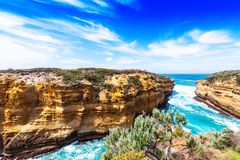 The Razorback rock in Port Campbell National Park, Victoria, Australia. Copy space for text.  stock photography