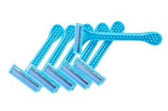 Razors. Bunch of blue razors on white background isolated close up Royalty Free Stock Images
