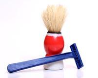 Razors and shaving brushes Royalty Free Stock Photo