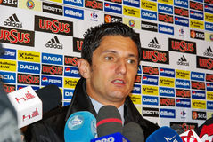 Razvan Lucescu. Football manager for Romanian team at press conference, 14.10.2009, Match between Romania - Faroe Islands 3-1 Stock Photo