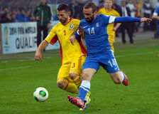Razvan Rat and Dimitros Salpigidis in FIFA World Cup Playoff Game Royalty Free Stock Photography
