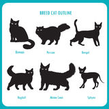 Razza Cat Outline Icons Vettore in bianco e nero su un fondo bianco Immagine Stock Libera da Diritti