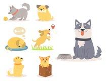 Razza felice comica di gioco sveglia del mammifero del cucciolo di razza divertente dei caratteri dei cani dell'illustrazione di  illustrazione vettoriale