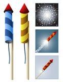 Razzi dei fuochi d'artificio con la sequenza Immagine Stock