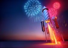 Razzi del fuoco d'artificio Fotografie Stock Libere da Diritti