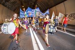 Razzista di dimostrazione di musica anti in Ventimiglia fotografia stock libera da diritti