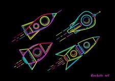 Razzo al neon, vettore illustrazione di stock