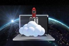 razzo 3d sul computer portatile contro la vista della terra da spazio Illustrazione Vettoriale