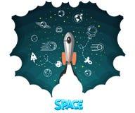 Razzo di spazio Scienza e navetta, pianeti in orbita e spazio, giovane impresa royalty illustrazione gratis