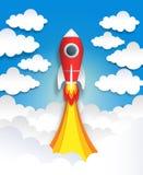 Razzo tagliato di carta Arte dello spazio di origami, arte pastello del fumetto piano con le nuvole ed astronave, veicolo spazial illustrazione vettoriale