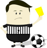 ?rbitro do futebol que mostra o cart?o amarelo Foto de Stock