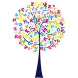 Árbol con las cartas del alfabeto Foto de archivo libre de regalías