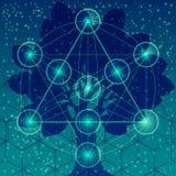 Árbol con símbolos y elementos sagrados de la geometría Fotos de archivo