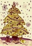 Árbol de abeto de la Navidad con la nieve, pintura de la acuarela en el papel Fotos de archivo libres de regalías