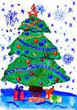 Árbol de abeto de la Navidad con la nieve, pintura de la acuarela en el papel Imágenes de archivo libres de regalías