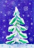 Árbol de abeto de la Navidad con nieve en la oscuridad, pintura de la acuarela en el papel Fotografía de archivo