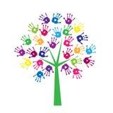 Árbol de impresiones coloreadas de palmas Imágenes de archivo libres de regalías
