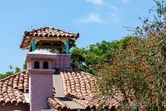 Árbol de la mimosa por el tejado de teja Imagenes de archivo