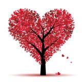 Árbol de la tarjeta del día de San Valentín, amor, hoja de corazones Imagen de archivo libre de regalías